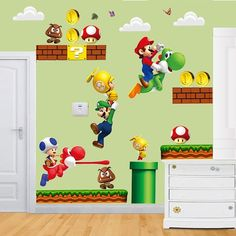 Gran Super Mario Bros niños 44 pared removible por Tech2Mix en Etsy