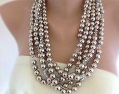 Gran collar de perlas hilo de varios gruesos por HMbySemraAscioglu