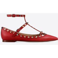 Valentino Garavani Rockstud Ballerina (57.910 RUB) ❤ liked on Polyvore featuring shoes, flats, red, ankle strap ballet flats, ballerina flats, ballet flat shoes, red ballet shoes and ballet shoes