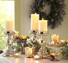 Mercury Glass Candleholders are glassy and classy. Dress it up for a wedding or down for home decor.