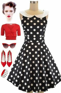 Just restocked at Le Bomb Shop! The Black and White Polka Dot DOTTIE dress with the most adorable peter pan collar and fit-n-flare silhouette... find it here at Le Bomb Shop for only $42 with FREE U.S. s/h: http://lebombshop.net/search?type=product&q=dottie&search-button.x=0&search-button.y=0