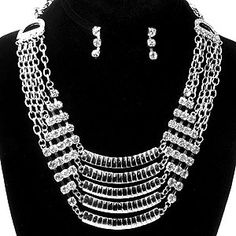 Chunky Metal Crystal Silver Hematite Statement Necklace And Earring Set