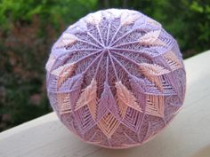 decorative ball home decor - hand embroidered - japanese temari thread ball - lilac.via Etsy.