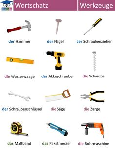 Tools and Equipments. Study German, German English, Learn German, Learn English, German Grammar, German Words, German Resources, Deutsch Language, Chinese Lessons
