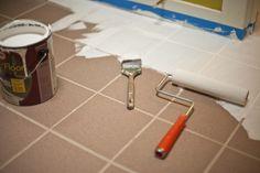 Craftzine: Checkerboard Painted Tile Floor