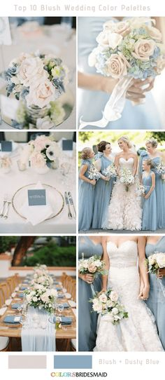 Top 10 Blush Wedding Color Palettes for Your Inspiration blush pink combines well with many other colors. The top 10 blush wedding color palettes to help you create a perfect wedding day to never forget! Blush Wedding Colors, Blue And Blush Wedding, Spring Wedding Colors, Dusty Blue Weddings, Wedding Color Schemes, Blush Weddings, Wedding Color Palettes, Blush Wedding Palette, Blush Color Palette