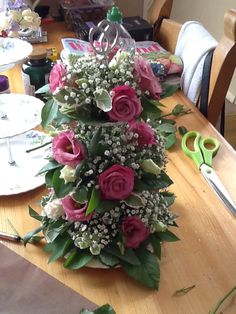 First try at flower arranging on homemade cake stand. Pretty pleased with first effort. Thanks to Katy for inspiration.
