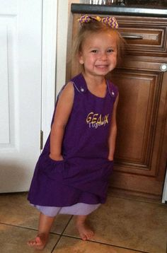 """LSU Solid Purple or Purple Gingham Aline Dress with """"Geaux Tigers' monogram on Etsy, $38.00"""