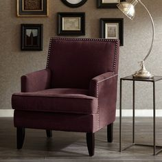 Madison Park Colton Track Arm Club Chair  Purple  28W X 305D X 355H ** You can find out more details at the link of the image.Note:It is affiliate link to Amazon.