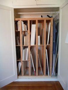 very necessary canvas storage rack.A very necessary canvas storage rack. Art Studio Storage, Art Supplies Storage, Art Studio Organization, Art Storage, Paper Storage, Storage Ideas, Storage Racks, Secret Storage, Photo Storage