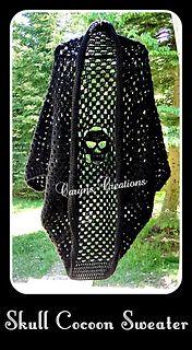 Skull Cocoon Sweater crochet pattern by Caryn's Creations! Skull Cocoon Sweater crochet pattern by Caryn's Creations! Crochet Jacket, Crochet Cardigan, Crochet Scarves, Crochet Shawl, Crochet Yarn, Crochet Clothes, Crochet Stitches, Knit Crochet, Free Crochet