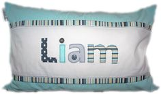 """Personalized """"Liam"""" Scatter - 35cm x 55cm - ideal to brighten any child's room! Great gift idea. Order from Tula-tu Baby Linen - also find us on facebook."""