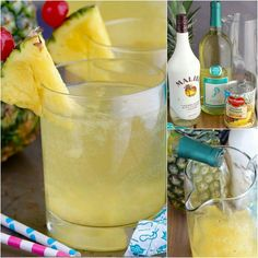 Pina Colada Sangria   Ingredients  2 750 ml bottles of moscato (I used Barefoot) 20 oz can of crushed pineapple, juice and pineapple 1 1/2 cups coconut rum (I used Malibu)  Instructions Combine all the ingredients in a large pitcher . Refrigerate overnight, and serve chilled.
