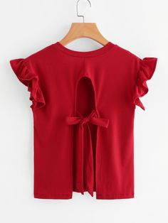 Shop Ruffle Sleeve Tie Detail Open Back Tee online. SheIn offers Ruffle Sleeve Tie Detail Open Back Tee & more to fit your fashionable needs. Kimono Fashion, Love Fashion, Girl Fashion, Fashion Outfits, Womens Fashion, Fashion Design, Ruffle Fabric, Red Fabric, Sewing Clothes Women
