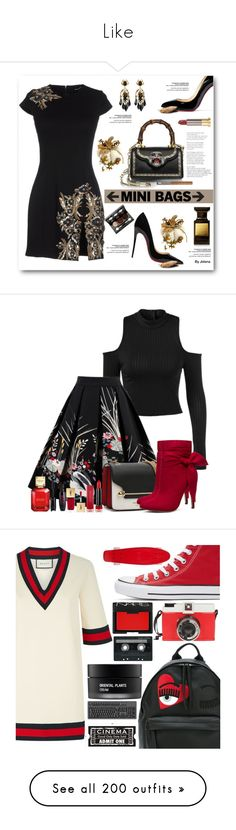 """""""Like"""" by dorogysya ❤ liked on Polyvore featuring Dsquared2, Gucci, Christian Louboutin, Urban Decay, Tom Ford, Vincent Longo, Max Factor, Michael Kors, Yves Saint Laurent and red"""