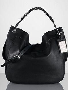 5db8def08c7 RALPH LAUREN COLLECTION HANDBAG CHAIN HANDLE HOBO BAG BLACK LEATHER  1450  ITALY   eBay
