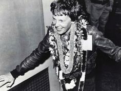 Famed aviator Amelia Earhart wears lei upon her arrival to Hawaii from Oakland, Calif. on March 18, 1937 in a time of 15 hours, 47 minutes. She set a speed record for that route with four hours of fuel remaining. The feat took place 77 years ago this month. March is also Women's History Month. Photo courtesy of Hawaii Department of Transportation