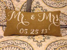 Burlap Pillow -  'Mr. & Mrs.' w/ date burlap lumbar pillow - Wedding/Anniversary Gift - Custom Made to Order