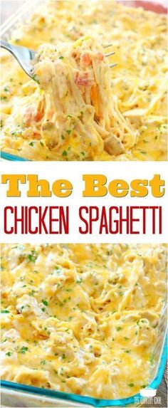 The Best Chicken Spaghetti recipe from The Country Cook chicken dinner easy recipes ideas pasta # Chicken Parmesan Recipes, Healthy Chicken Recipes, Recipes Using Cooked Chicken, Beef Recipes, Sausage Recipes, Family Recipes, Chicken Recipes Low Sodium, Recipes With Leftover Chicken, Hamburger Recipes Easy