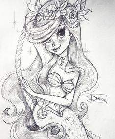 Pin de wapa padilla en the little mermaid en 2019 dessin ariel, dessins dis Mermaid Disney, Cute Mermaid, Mermaid Art, The Little Mermaid, Ariel Mermaid, Disney Sketches, Disney Drawings, Cute Drawings, Drawing Sketches