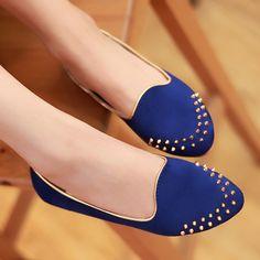 Rivet flat single shoes female flat heel black maternity shoes cute shoes