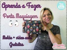 Carmela Caramella : MOLDES - PORTA MAQUIAGEM - NECESSAIRE Mascara, Diy And Crafts, Make It Yourself, How To Make, Blog, Nova, Sewing, Rolling Makeup Case, Makeup Holder