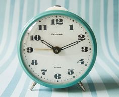 Soviet mechanical alarm clock turquoise color Soviet by SovietEra, $39.00