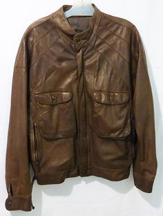 Vintage Parri's glove leather chocolate brown flight jacket style 50