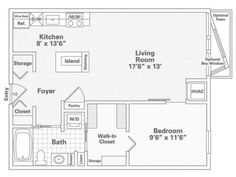 1 Bedroom, 1 Bath Floor Plan of Property Eitel Building City Apartments. Eitel Building City Apartments with large closets, over-sized storage and spacious floor plans in downtown Minneapolis. Apartments for rent in Loring Park.
