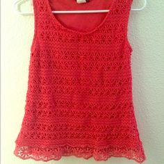 lace tank Lace printed fuchsia colored tank. Tops Tank Tops