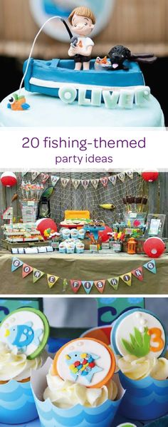 """Your toddler is sure to take the bait with this collection of fishing-themed birthday party ideas. Reel in your little outdoorsman with creative DIY party decorations, like fish cupcakes and a """"gone fishing"""" birthday banner. Explore the rest of this article to find inspiration for your kid's next birthday party."""