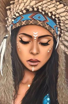 """Artfinder - Results for """"native american indians"""" in art, Oil painting on Canvas by Lianne Issa. Native American Makeup, Native American Face Paint, Native American Indians, Maquillage Halloween, Halloween Makeup, American Indian Girl, Tribal Makeup, Date Night Makeup, Halloween Photography"""