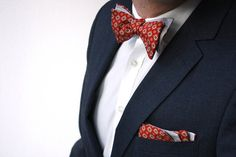 Mens bowtie Grey and Red ornament 100%Natural Pure silk