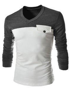 Modish V-Neck Two Color Splicing Fake Pocket Slimming Long Sleeve Polyester T-Shirt For Men - GRAY L