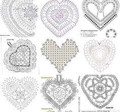 crochet hearts Ribbed Crochet, Freeform Crochet, Thread Crochet, Crochet Motif, Crochet Stitches, Crochet Patterns, Diy Crafts Crochet, Crochet Home, Love Crochet