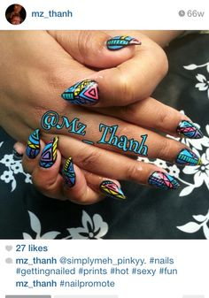 Another set done for meh by IG:@mz_thanh #stilletonails #aztecnails #freestyle #artwork #designs #handpainted #nostickers