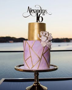 Geometric themed cake. #geometriccake #pinkandgoldcake #sweetsixteencake