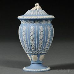 Wedgwood Solid Light Blue Jasper Vase and Cover - Price Estimate: $300 - $500. 7 inches tall.