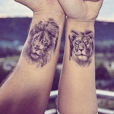 Lion & Tiger Best Combination for Small Tattoos Couples Tattoo Designs, Small Tattoo Designs, Small Tattoos, Neue Tattoos, Body Art Tattoos, Couple Lion, Tatuagem Diy, Partner Tattoos, Him And Her Tattoos