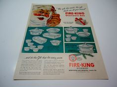 Vintage FIRE KING Color Magazine Print Ad 1950's SANTA CLAUS OVEN WARE SETS