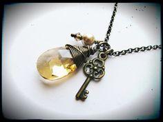 Golden Shadow Swarovski Skeleton Key Necklace by GeishaCreations, $21.00