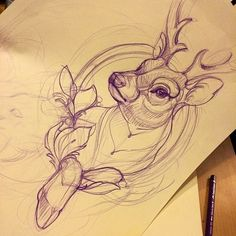 Sketching for my next guestspot at #southinktattoo #tattoo #missjuliet #deer