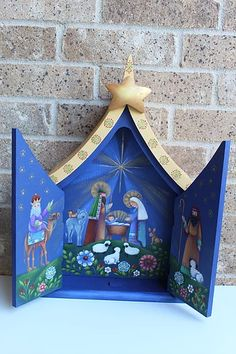 Painting Folk Art Pieces with patterns that anyone can paint. These folk art patterns are by Rosemary West. Christmas Nativity Scene, Christmas Snowman, Rosemary West, Bunny Lamp, Bouquet Box, Stationary Box, Face Painting Tutorials, Candy Cane Wreath, Art Friend