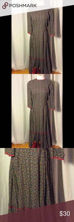 Selling this Prairie dress with red rick rack on Poshmark! My username is: patriciamildred. #shopmycloset #poshmark #fashion #shopping #style #forsale #Vintage #Dresses & Skirts