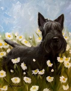 PRINT Scottie Dog Scottish Terrier Picking by HangingtheMoonShelby