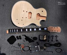 Unfinished Electric Guitar Kit Com Guitarra Bege Top Diy Para O Costume De Estilo Loja