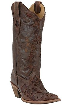 Corral Ladies Tobacco w/ Tobacco Inlay Sharpey Western Boots ...okay these are my favs
