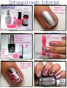 Sprayed Manicure Tutorial- good use for those little sample perfume bottles of scents you don't fancy.