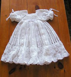 Crochet Christening / Blessing Gown - Shell Pattern-Pineapple Fringe. $70.00, via Etsy.