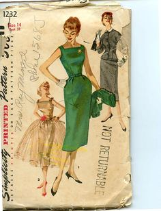 Simplicity 1232 1950s Misses' Dress Pattern by VioletCrownEmporium, $11.00